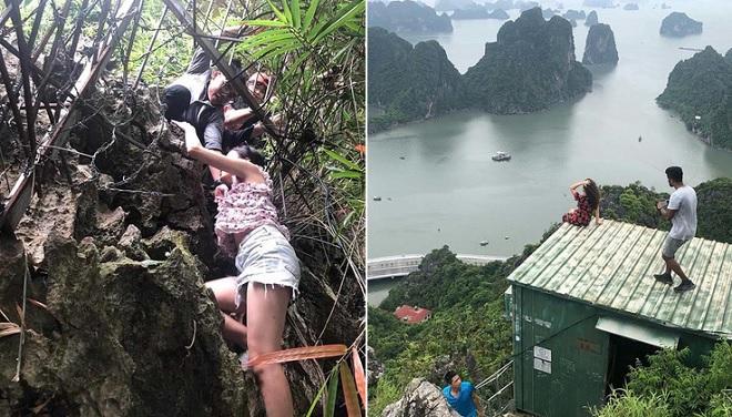 """Du lịch mạo hiểm: Mặc biển cấm, dân thu phí giúp du khách chui rào lên """"nóc nhà Hạ Long"""""""