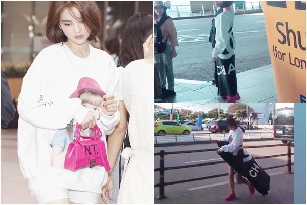 Đi du lịch không xem dự báo thời tiết, Ngọc Trinh quấn chăn chạy quanh sân bay Seoul