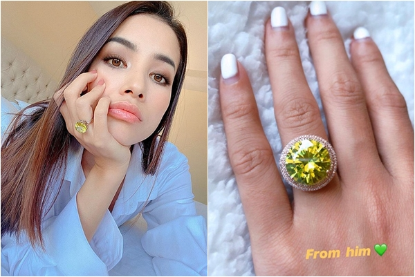 """Phạm Hương khoe nhẫn kim cương vàng """"khủng"""" được bạn trai tặng, dân tịch chỉ ra cái này quen quen"""