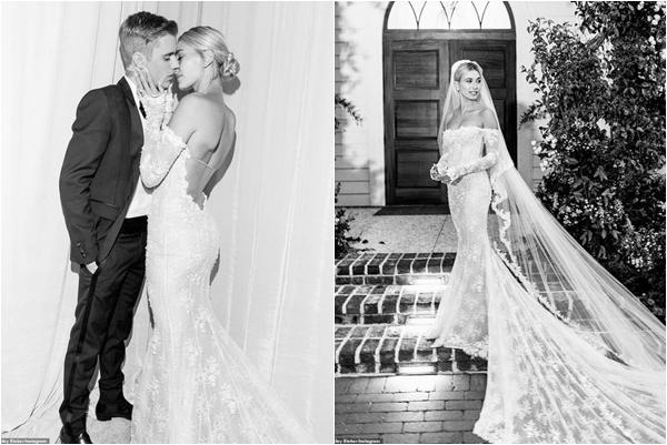 Cận cảnh chiếc váy cưới lộng lẫy của Hailey Baldwin, đẹp thôi chưa đủ mà cực đặc biệt với chi tiết này