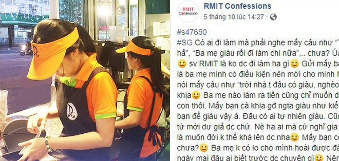 """Sinh viên RMIT xin việc làm thêm và bị """"cà khịa"""": """"Đi làm để sau này không có ba mẹ mình vẫn có khả năng lo cho cuộc sống"""""""