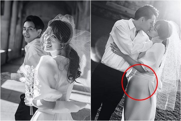 """Ảnh cưới để lộ vòng 2 to bất thường, phải chăng Đông Nhi đang ngầm thông báo """"song hỉ lâm môn""""?"""