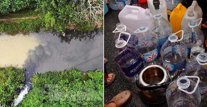 Nước máy đầu nguồn ô nhiễm do dầu thải, người dân xếp hàng xách nước sạch mỏi tay