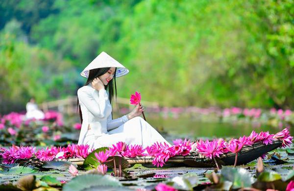 Hóa nàng thơ xứ Hà Thành trên dòng sông tím mùa hoa súng về suối Yến