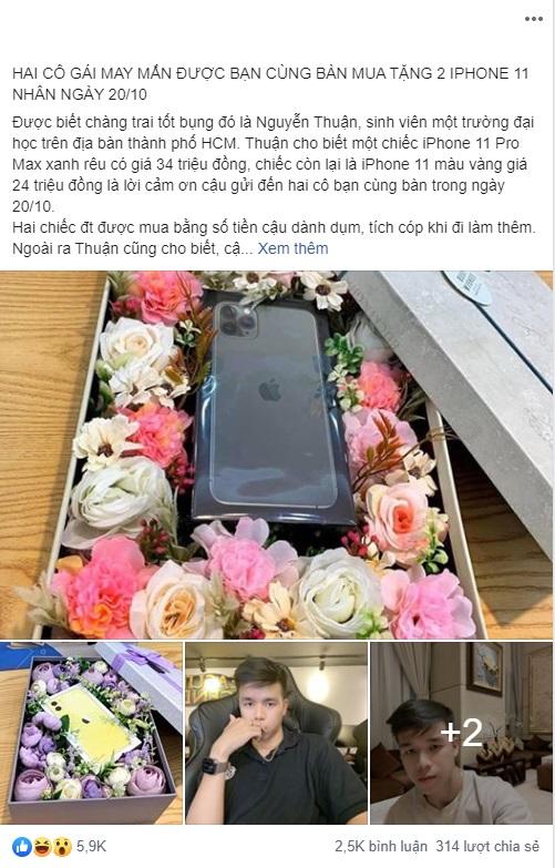 Chàng trai 21 tuổi mua hai chiếc iPhone 11 làm quà 20/10 cho cô bạn cùng bàn vì đã cứu nguy mình trong giờ kiểm tra