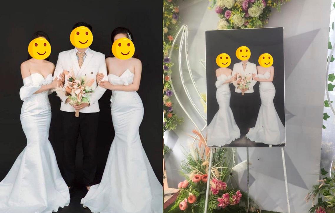 """Cô dâu rủ bạn thân chụp ảnh cưới chung rồi in thành khung đặt tại sảnh cưới, CĐM nhắc nhở: """"vui thôi đừng vui quá"""""""