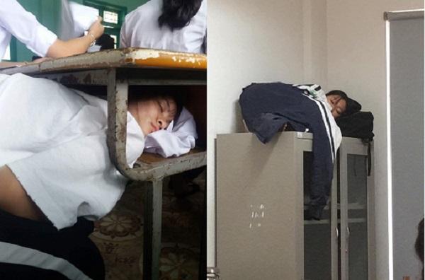 """""""Bó tay"""" với muôn kiểu ngủ tranh thủ trong lớp """"không đỡ nổi"""" của học sinh"""