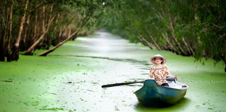 """010 20191027231921 - Thu này, """"đẩy thuyền"""" đu đưa về rừng tràm Trà Sư mùa nước nổi đẹp quên lối về"""