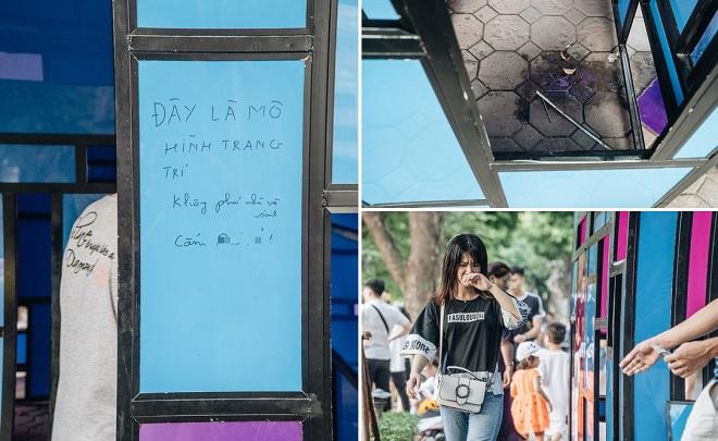 Góc ý thức: Người dân đi vệ sinh bên trong tác phẩm nghệ thuật giữa phố đi bộ Hồ Gươm