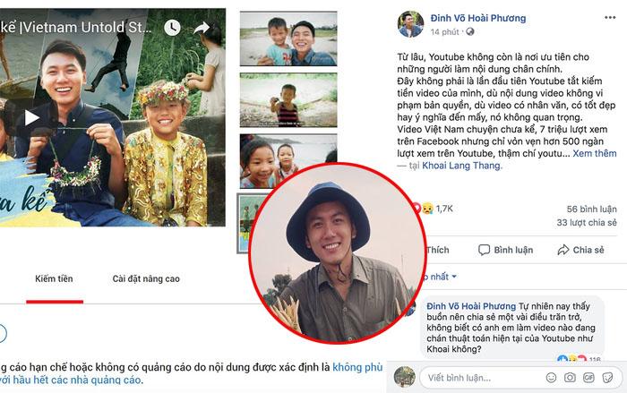 Kênh Youtube bị tắt kiếm tiền, travel blogger Khoai Lang Thang than trách: Nội dung chân chính không được coi trọng
