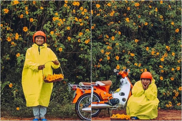 """Bộ ảnh chàng photographer mặc áo mưa vàng vô tư thả dáng bên hoa dã quỳ Đà Lạt bỗng gây sốt vì quá """"đáng yêu"""""""