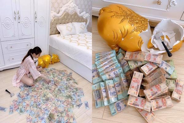 Hot girl Sài Gòn đập lợn vàng gần 3 tỷ bị tố làm màu, tiền phẳng thế kia chắc vừa đút vào đã đập