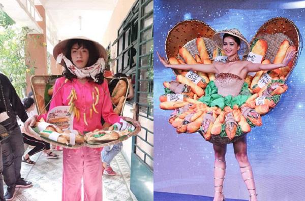 """Mạnh dạn cosplay chiếc đầm bánh mỳ giống Hoa hậu H'Hen Niê, nam sinh trường """"người ta"""" gây sốt"""