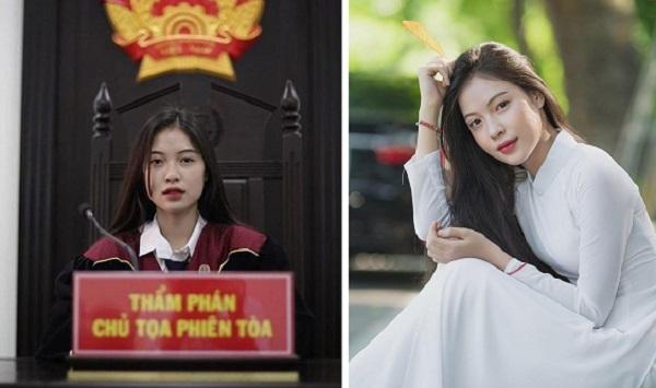 Nữ thẩm phán tương lai xinh đẹp, duyên dáng trong trang phục áo dài trắng