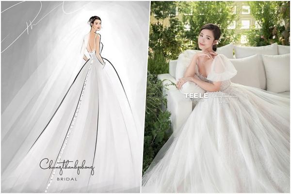 Hé lộ 2 mẫu váy cưới chính thức và voan cài dài 30m của Đông Nhi trong lễ cưới tối nay tại Phú Quốc