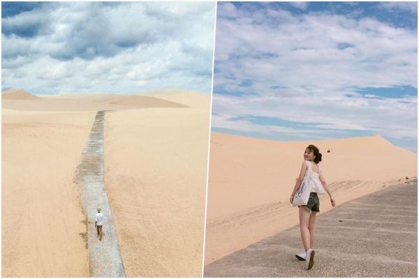 """Share nhanh tọa độ """"cực ảo"""" mới nổi ở Phan Thiết: Con đường đi bộ độc hành trên sa mạc"""