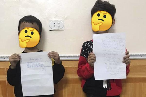 """Phì cười với hai thanh niên """"tí tuổi"""" đã tập tành viết thư gửi bạn gái, ai ngờ bị phát hiện phải viết bản kiểm điểm"""
