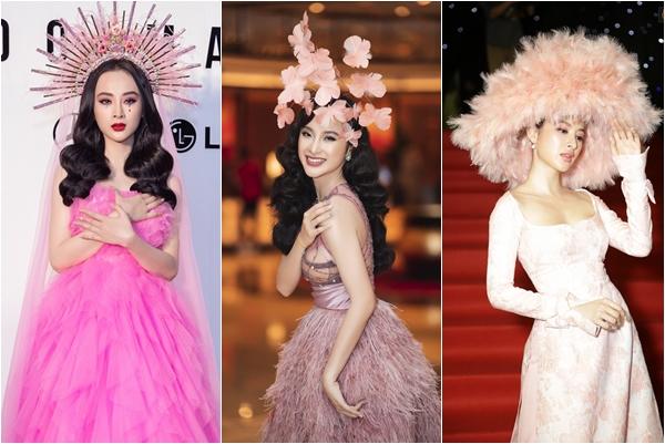1001 dịp chơi lớn trên thảm đỏ của Angela Phương Trinh: Bà hoàng thích mũ mão khổng lồ, hoa lá rối rắm