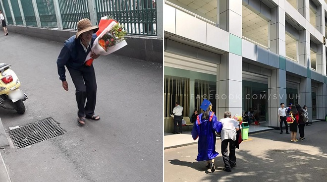 Xúc động hình ảnh người ông lưng còng ôm hoa đến lễ tốt nghiệp của cháu gái