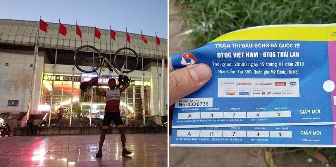 Một CĐV Thái Lan đạp xe 1.400 km trong 7 ngày để tới Hà Nội cổ vũ đội nhà