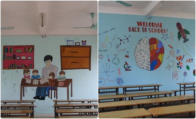 Tường lớp học được học sinh biến thành tác phẩm đầy sắc màu và ý nghĩa nhân ngày 20/11
