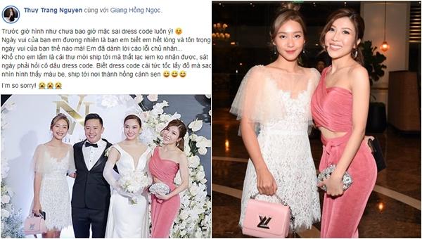 """Tới dự đám cưới bạn thân Giang Hồng Ngọc, Trang Pháp 1 mình mặc váy hồng chói lóa với lý do """"khó nói"""""""