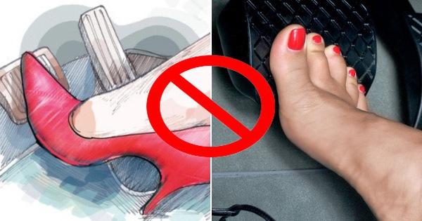 Diện giày cao gót khi lái xe, chị em điều khiển ô tô nhất định phải nhớ điều này