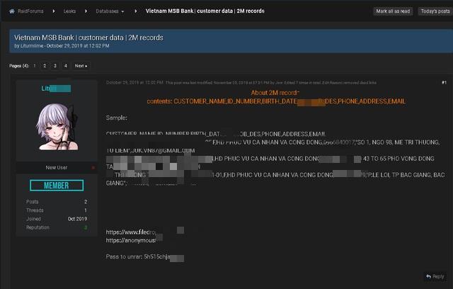 Diễn đàn hacker tiết lộ hơn 2 triệu thông tin tài khoản được cho là của ngân hàng MSB