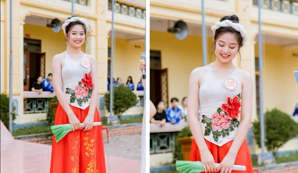 Khoe dáng đẹp trong chiếc yếm thắm trên sân khấu, nữ sinh Nghệ An còn gây sốt với thành tích học tập giỏi
