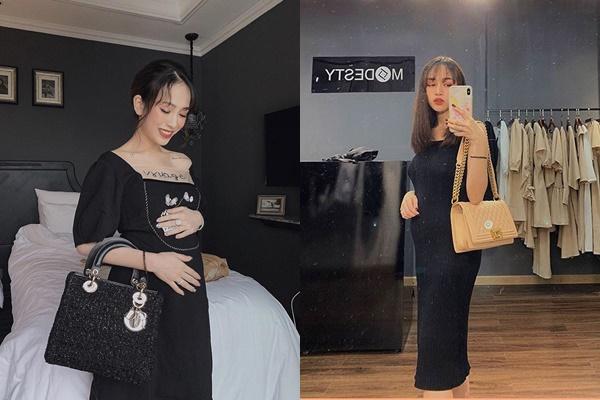 Con gái Minh Nhựa: mặc đầm bầu giản dị nhưng riêng túi phải xài hàng hiệu