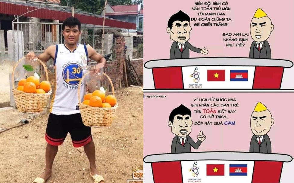 """""""Cười bể bụng"""" với loạt ảnh chế sau trận Việt Nam - Campuchia: Đức Chinh, Văn Toản thay nhau """"vắt Cam"""""""