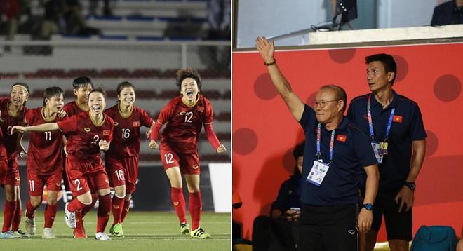 Cùng ban huấn luyện đi cổ vũ đội tuyển nữ, thầy Park hò hét như đang dẫn dắt U22 Việt Nam