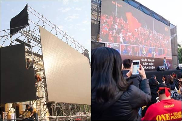 Check-in loạt địa điểm ở Hà Nội đặt màn hình led miễn phí cho người dân cổ vũ đội tuyển U22 Việt Nam