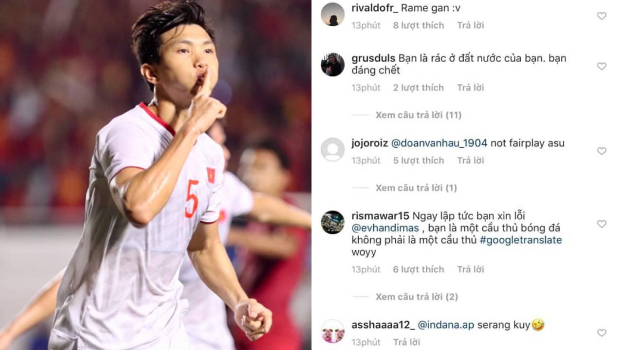 """Trở thành người hùng ghi hai bàn thắng lớn, Văn Hậu bị cổ động viên Indonesia """"tấn công"""" trang cá nhân"""