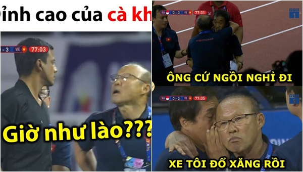 """Loạt ảnh meme tả biểu cảm cực """"gắt"""" của HLV Park Hang Seo khi bị phạt thẻ đỏ: Chỉ thấy """"bố Park"""" quá ngầu và đáng yêu"""