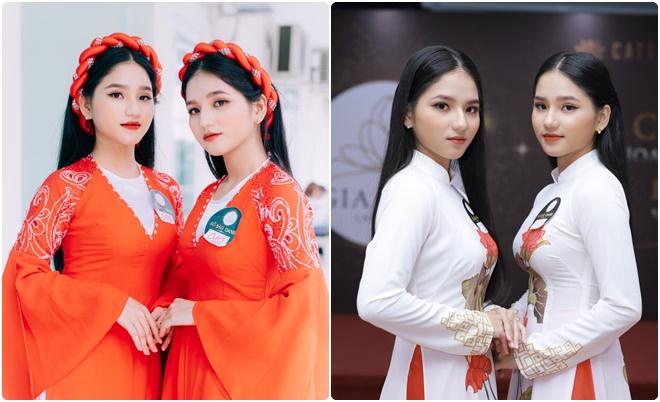 Tham dự cuộc thi Hoa khôi Sinh viên NHG 2020, cặp chị em sinh đôi gây sốt dù chiều cao khiêm tốn