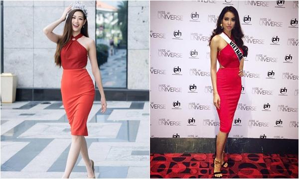 Khánh Vân diện lại chiếc váy của Phạm Hương tận 4 năm về trước - nàng Hậu đăng quang mà vẫn phải diện váy cũ
