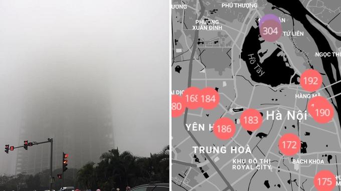 Hà Nội chìm trong làn sương mù ô nhiễm dày đặc đúng ngày Giáng sinh