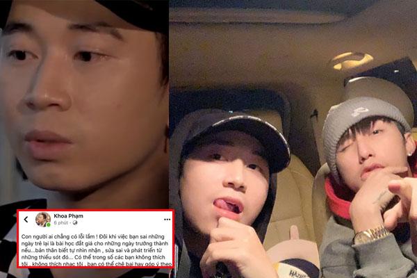 """Karik phản ứng khi bị fans Sơn Tùng """"ném đá"""" quá khứ sân si đàn em, viết status rồi xóa vài lần"""