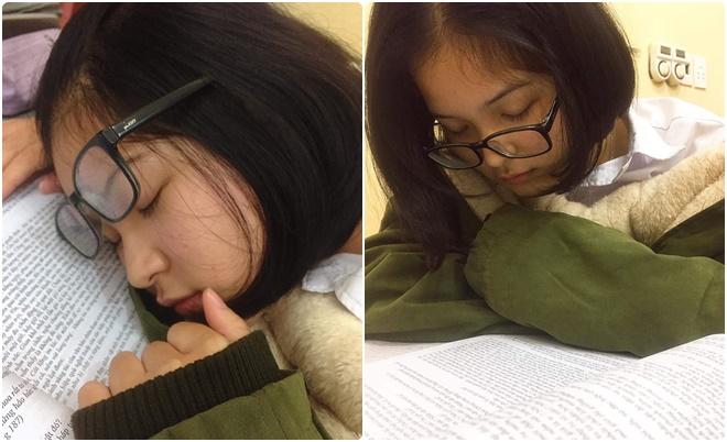 Nữ sinh lớp 9 ôn thi đội tuyển Văn quá mệt nên ngủ gật tại lớp, để lại những hình ảnh siêu dễ thương