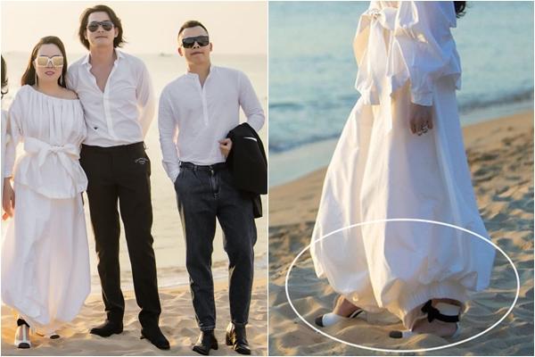 Mang giày 31 triệu đi đám cưới bãi biển, Phượng Chanel chật vật như cá mắc cạn