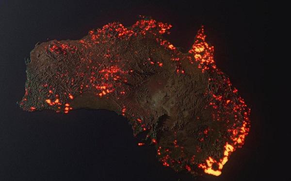 Sự thật về tấm hình toàn nước Úc trong biển lửa: Hình dựng 3D dựa trên dữ liệu thật