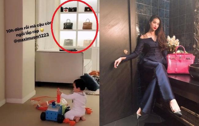 Phạm Hương khoe con trai cưng ngồi lắp ráp, thế nhưng dân tình lại chỉ chú ý tới tủ đồ hiệu cực khủng phía sau