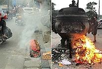 Khắp nơi ồ ạt đốt vàng mã ngày ông Công, ông Táo khiến đường phố và chung cư khói mù mịt