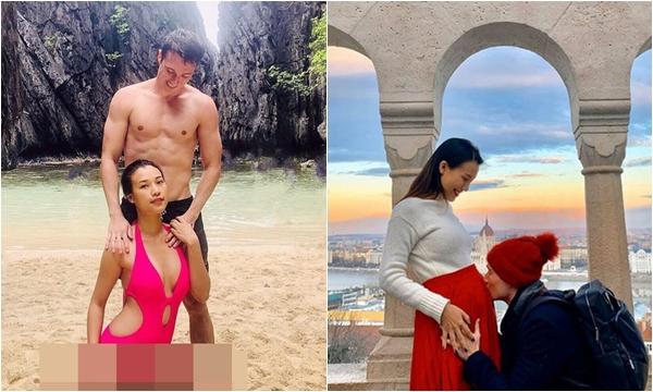 """Hoàng Oanh gây """"lú"""" khoe bụng phẳng lì sau khi công khai có bầu 5 tháng với chồng Tây, kèm lời hứa giảm cân?"""