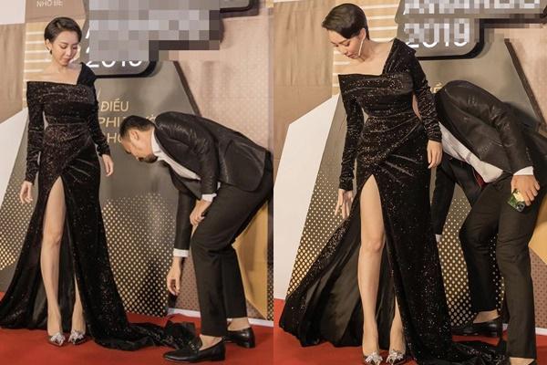 """Tiến Luật """"công khai yêu vợ"""" với màn chỉnh váy khéo không ai bằng"""