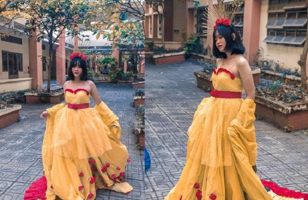 Nữ sinh Sài thành mặc trang phục tái chế tự thiết kế gây sốt với thần thái không kém người mẫu chuyên nghiệp
