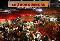 Người dân chen chúc đi mua hoa Tết trong đêm khiến chợ hoa Quảng An