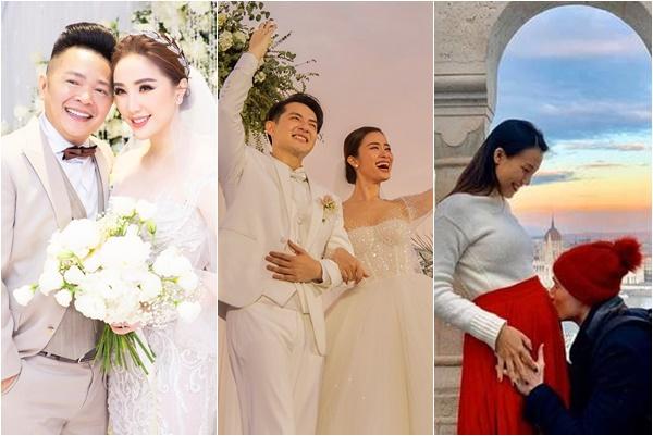 """Dàn """"gái ế"""" Vbiz lên xe hoa năm 2019: Yêu nhanh, cưới vội, có bầu vẫn hạnh phúc"""