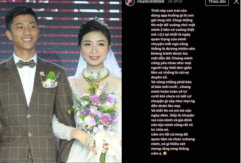 """Vợ Văn Đức xác nhận việc """"cưới chạy bầu"""", đồng thời phản bác khi bị chê ảnh xấu: """"Thời này con trai còn dùng app"""""""
